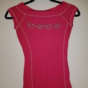 Bebe Basic Logo Pink Rhinestones Tee